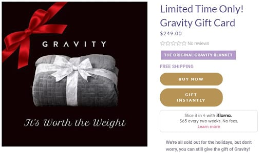 Gravity blanket gift card