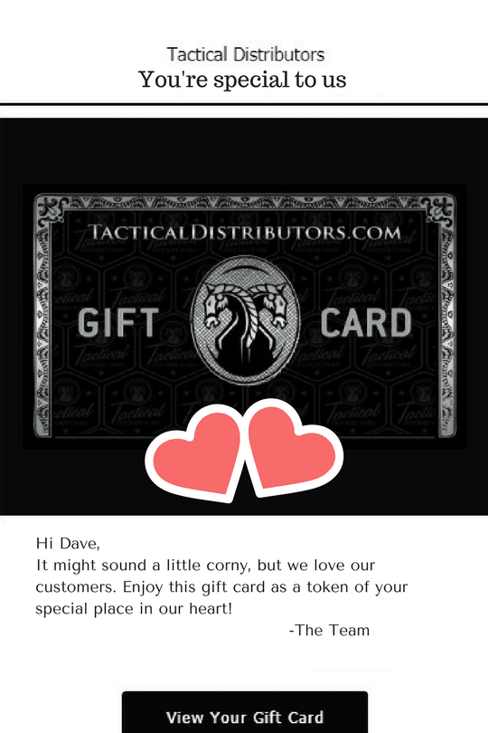 Tactical Distributors loyalty card gift for valentines
