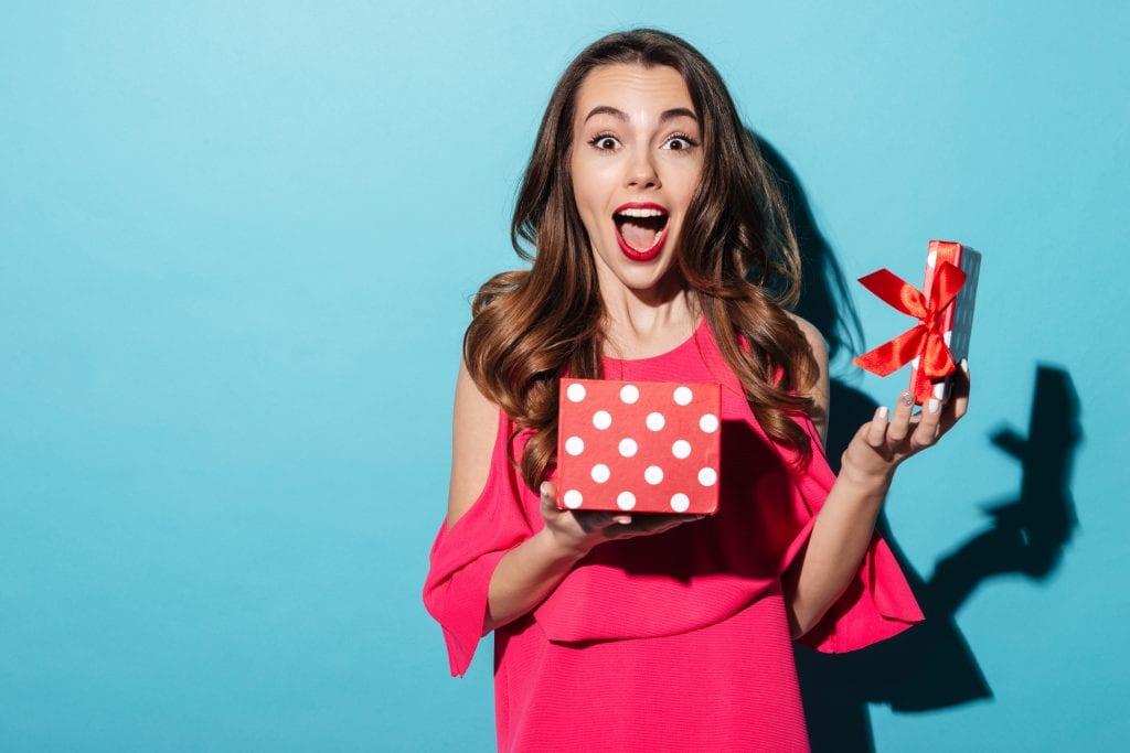 women receive a gift