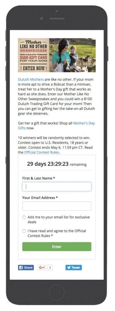 Duluth Trading Mother's Day gift cards contest