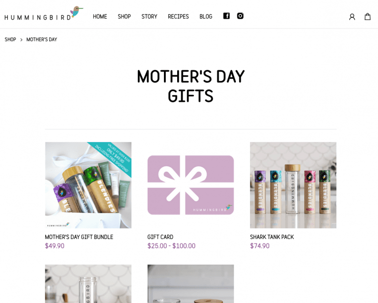 Hummingbird mother's day gift cards page