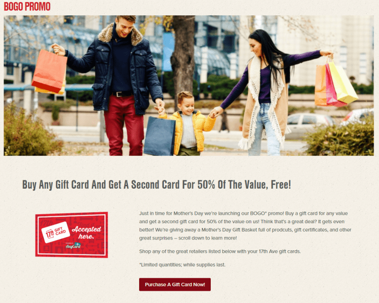 Calgary's Retail and Entertainment DistrictMmother's Day Gift Card incentive