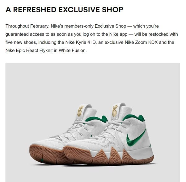 Nike's Loyalty program members-only Exclusive Shop