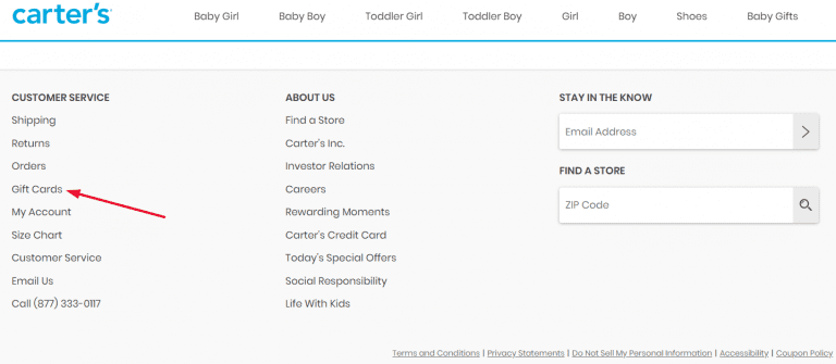 Carter's Gift Cards in Footer