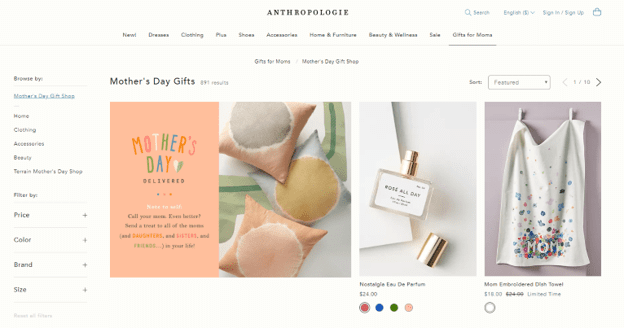 Anthropologie Mother's Day gifts ideas