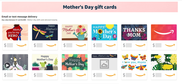 Amazon Mother's Day Gift Cards