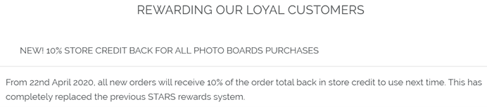 photo boards rewards program